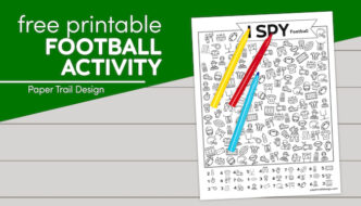 Football I spy page to print for free with text overlay- free printable football activity