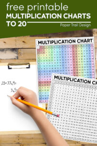 multiplication charts with kids hand with pencil doing math problem with text overlay- free printable multiplication charts to 20