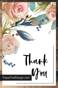 Floral thank you card design with text overlay- PaperTrailDesign.com