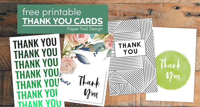 Various Thank You card designs with text overlay- free printable thank you cards