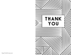 Free printable foldable printable thank you card to color in black and white