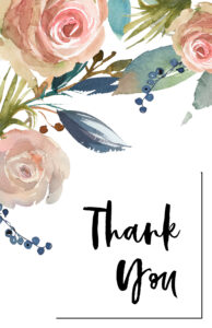 Pink and blue floral thank you card design