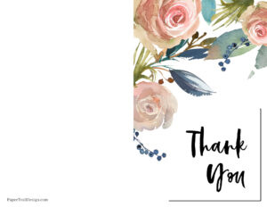 Foldable printable thank you card floral design