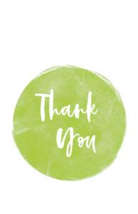 Cute thank you card design in green