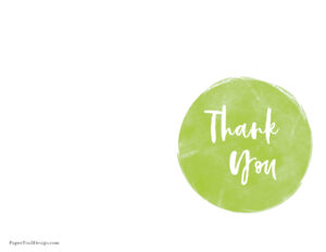 Foldable thank you card printable in green
