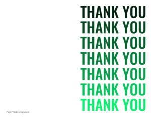 Green foldable printable thank you card with thank you written in green ombre