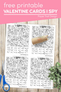 I spy valentine cards with colored pencils and scissors text overlay- free printable valentine cards I spy