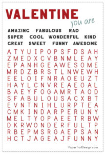 Free printable Valentine's Day cards word search