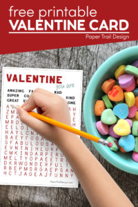 Printable valentines - word search cards for kids