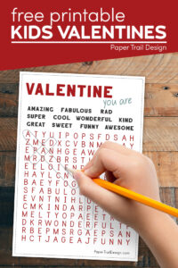DIY valentine cards word search with text overlay- free printable kids valentines