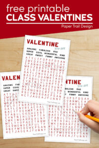 Valentine's Day cards for kids to print for free with text overlay- free printable class valentines