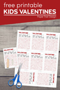 word search Valentine card free printable with text overlay- free printable kids valentines