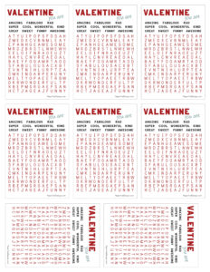 Free valentine printables - word search cards.
