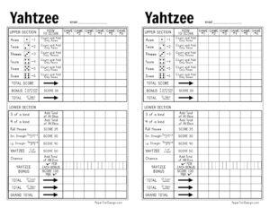 Printable yahtzee score sheets 2 per page