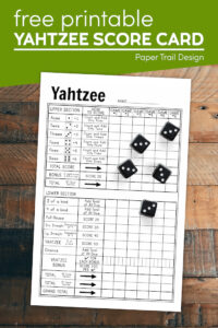Printable yahtzee score sheet with text overlay- free printable yahtzee score card