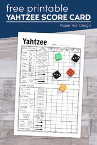 Free printable yahtzee score sheet with 5 dice with text overlay- free printable yahtzee score card