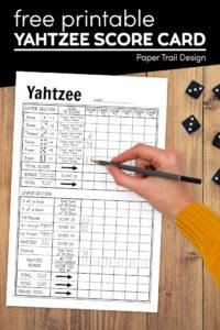 Free yahtzee printable score sheet with text overlay- free printable yahtzee score card