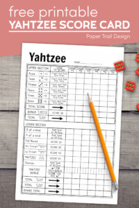 Free printable yahtzee card with pencil and dice with text overlay- free printable yahtzee score card