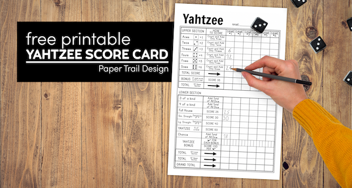 Printable yahtzee sheets with five dice and hand holding pencil with text overlay- free printable yahtzee score card