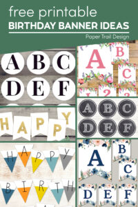 Many different banner styles with text overlay- free printable birthday banner ideas