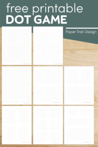 Dots and boxes game printables with text overlay- free printable dot game