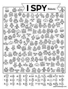 Free printable I spy Robots themed activity page