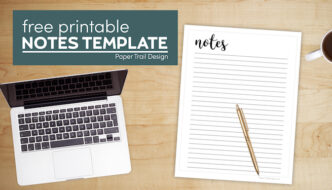 Free printable note taking paper with text overlay- free printable notes template