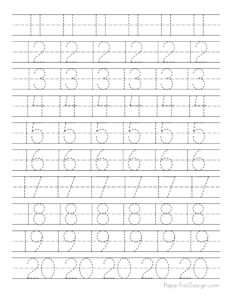 Preschool number worksheets for 11-20
