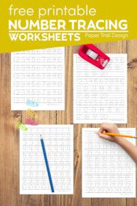 Tracing practice number worksheets for kindergarten 1-20