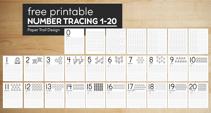 Free number tracing worksheets 1-20
