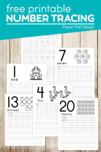 Number tracing worksheets for kids with text overlay- free printable number tracing