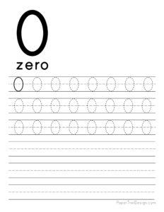 Tracing number 0 worksheet free printable
