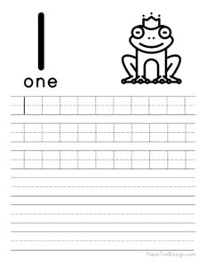 Tracing number 1 worksheet free printable