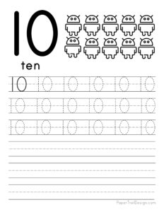Tracing number 10 worksheet free printable