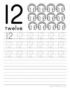 Tracing number 12 worksheet free printable