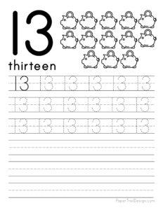 Tracing number 13 worksheet free printable