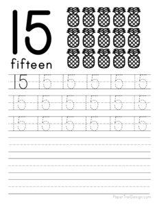 Tracing number 15 worksheet free printable