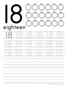 Tracing number 18 worksheet free printable