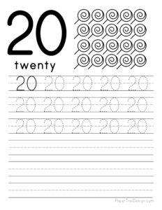Tracing number 20 worksheet free printable