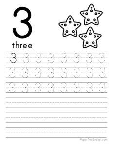 Tracing number 3 worksheet free printable
