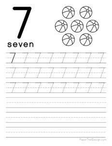 Tracing number 7 worksheet free printable
