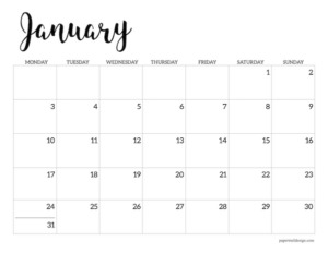 Free printable 2022 January Monday start calendar page