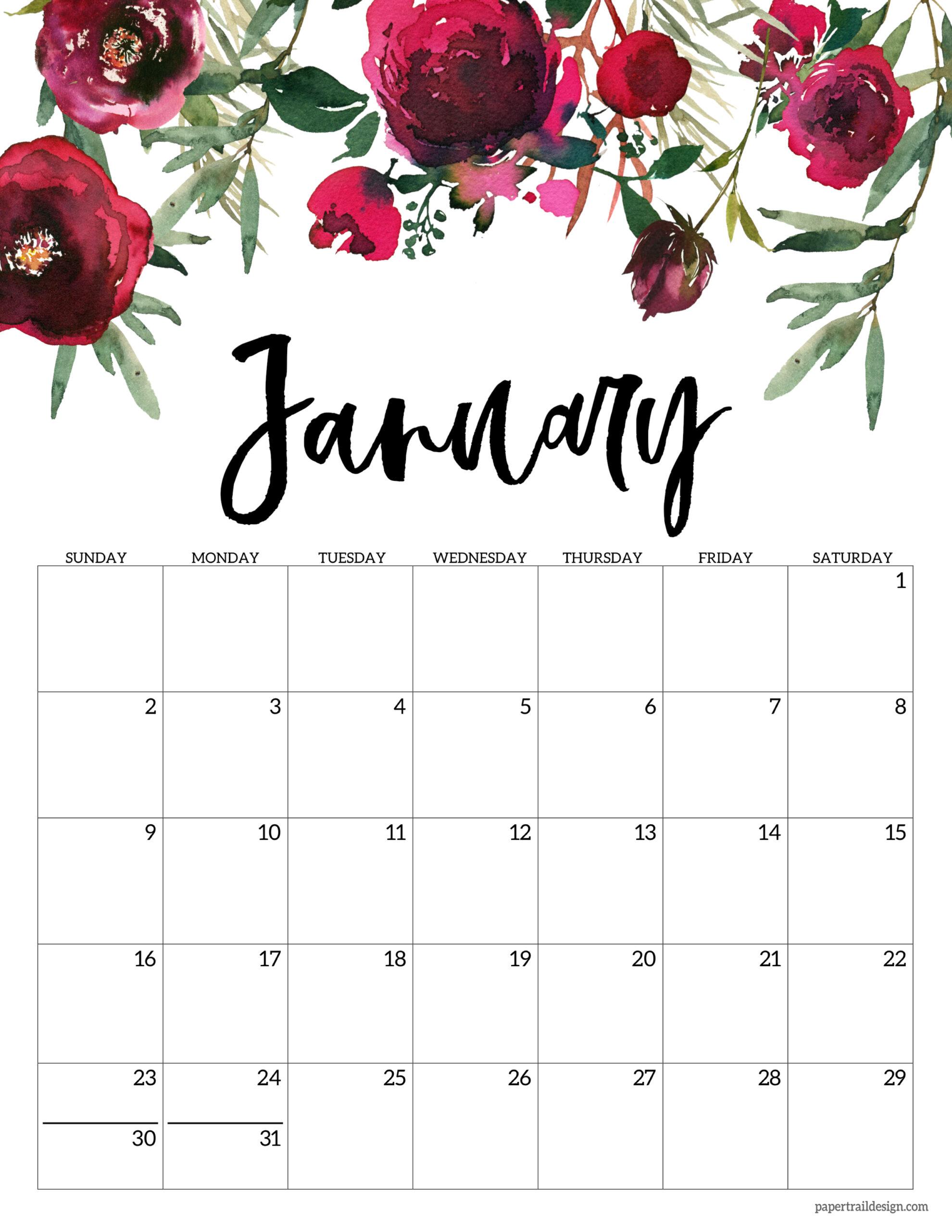 2022 January Calendar Printable.Free 2022 Calendar Printable Floral Paper Trail Design