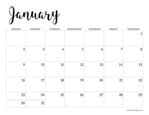 January 2022 calendar printable template
