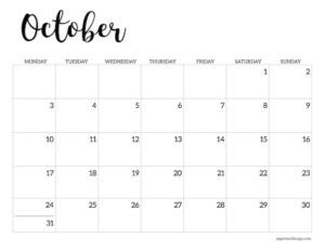 Free printable 2022 October Monday start calendar page