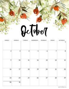 Free floral October 2022 calendar printable
