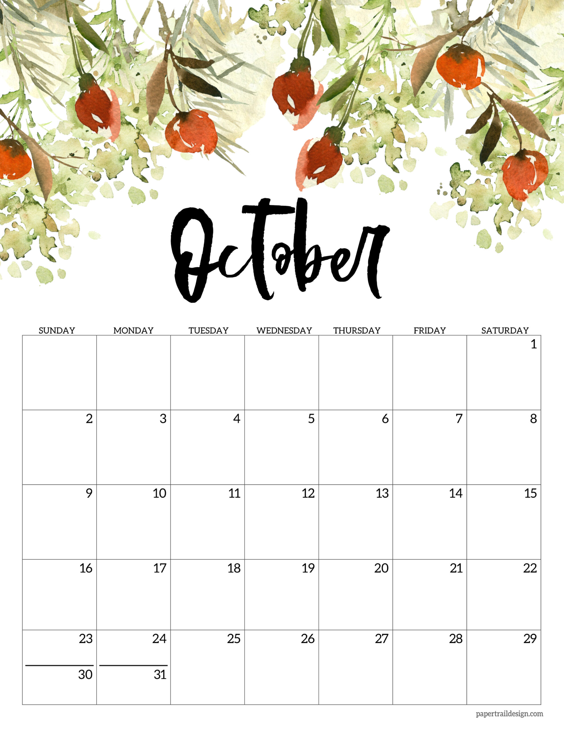 Free Printable Calendar October 2022.Free 2022 Calendar Printable Floral Paper Trail Design