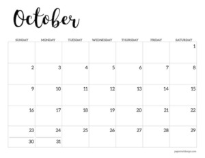 October 2022 calendar printable template