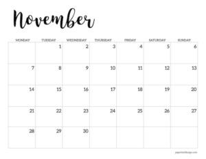 Free printable 2022 November Monday start calendar page