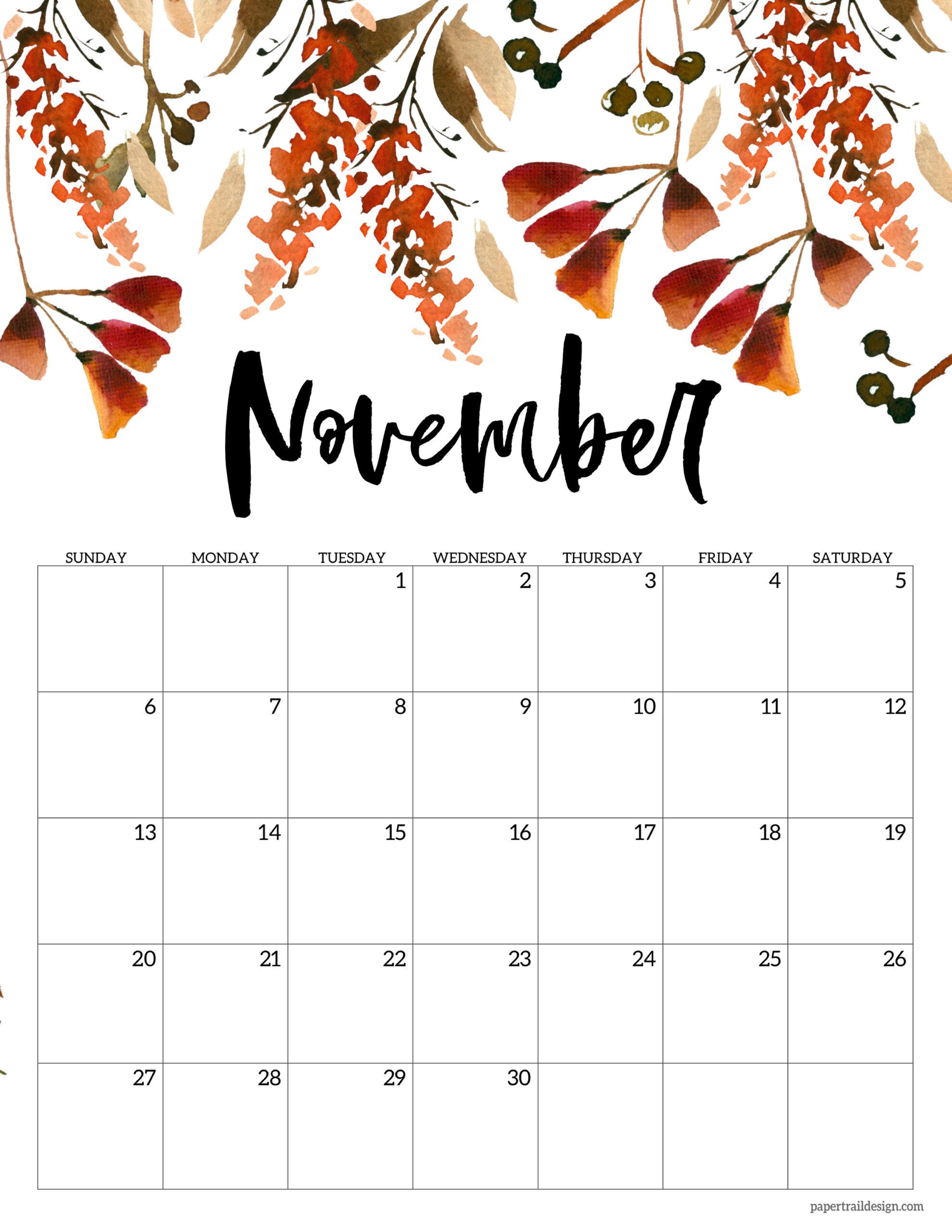 Printable November 2022 Calendar.Free 2022 Calendar Printable Floral Paper Trail Design